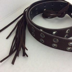 Vegan Brown Suede Grommeted Long Fringe Tie Belt S